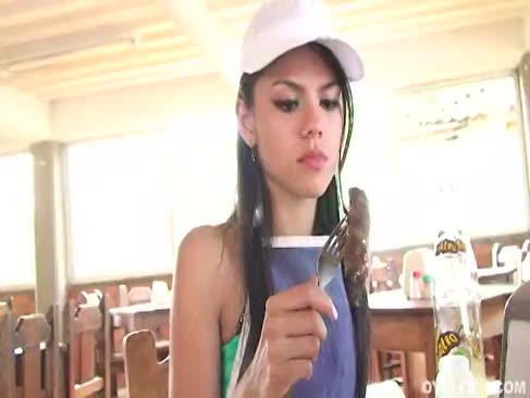Claudia castro a helper in a restaurant gets romped hard by one of the customers